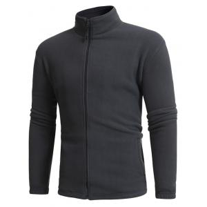Thicken Stand Collar Zip Up Fleece Jacket - GRAY 3XL