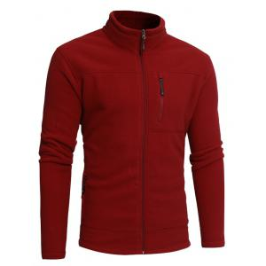 Stand Collar Zip Veste en molleton - Rouge 3XL