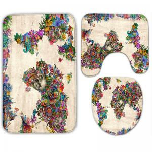 3Pcs/Set Floral Skull Flannel Bath Toilet Mats -