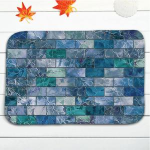3Pcs Flannel Printed Brick Bath Toilet Mats Set - BLUE