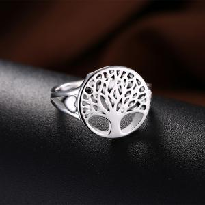 Alloy Tree of Life Round Ring - Argent 9