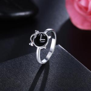 Cute Alloy Clock Round Ring - SILVER 6