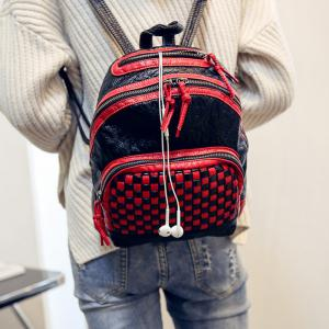 Textured Leather Plaid Pattern Backpack - RED