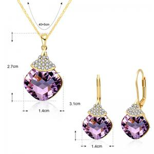 Zircon Fruit Shape Pendant Necklace and Earrings -
