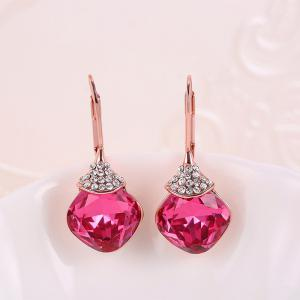 Zircon Fruit Shape Pendant Necklace and Earrings - ROSE RED