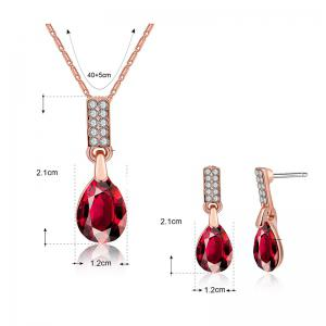 Teardrop Pendant Necklace and Earrings -