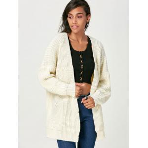 Cardigan Open Front Chunky Sweater - BEIGE ONE SIZE