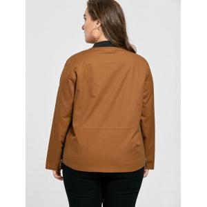 Plus Size Pocket Embroidered Zipper Jacket - BROWN 3XL