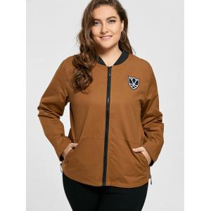Plus Size Pocket Embroidered Zipper Jacket - BROWN 4XL