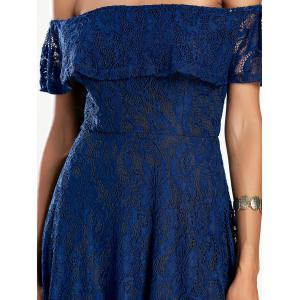 Off The Shoulder Lace Mini Dress - DEEP BLUE S