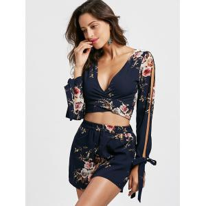 Split Sleeve Floral Crop Top with Shorts - CERULEAN L