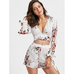 Split Sleeve Floral Crop Top with Shorts - WHITE XL