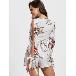 Split Sleeve Floral Crop Top with Shorts - WHITE S