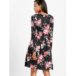 Floral Swing Dress with Long Sleeve - BLACK XL