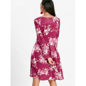 Floral Swing Dress with Long Sleeve - RED M
