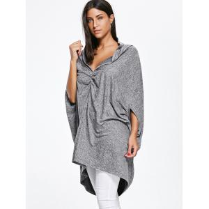Oversized Ruched Asymmetric Convertible Top - GRAY M