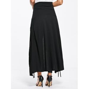 Front Slit Lace Up High Waisted Maxi Skirt - BLACK 2XL