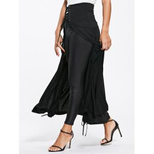 Front Slit Lace Up High Waisted Maxi Skirt -