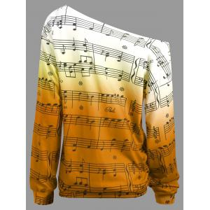 Musical Notes Printed Long Sleeves Sweatshirt -