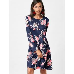 Floral Swing Dress with Long Sleeve -