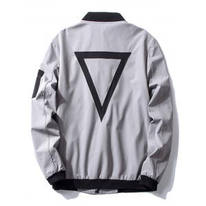 Triangle Pattern Embroidered Bomber Jacket -