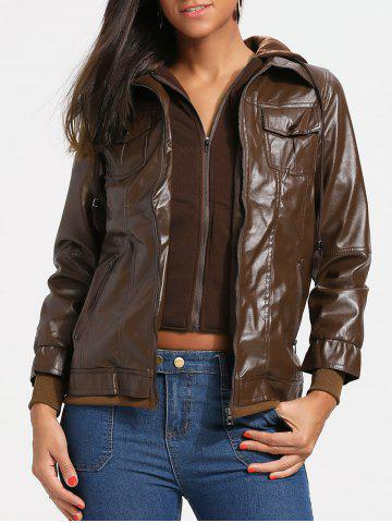 Cheap Flap Pockets Hooded Faux Leather Jacket