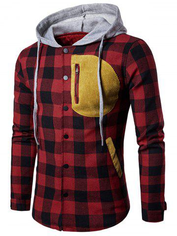 Patched Pocket Tartan Plaid Hoodie