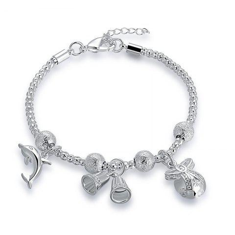 Fashion Christmas Bell Dolphin Chain Charm Bracelet - SILVER  Mobile