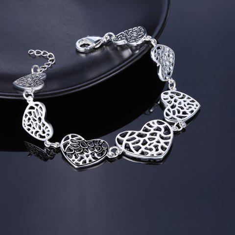 Discount Metal Alloy Heart Chain Bracelet - SILVER  Mobile