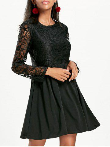 Long Sleeve A Line Lace Cocktail  Dress - Black - S