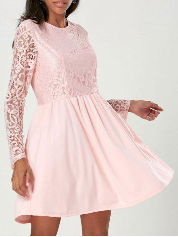 Long Sleeve A Line Lace Cocktail  Dress - Light Pink - Xl