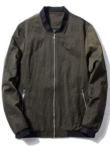 New Zip Pocket Stand Collar Bomber Jacket