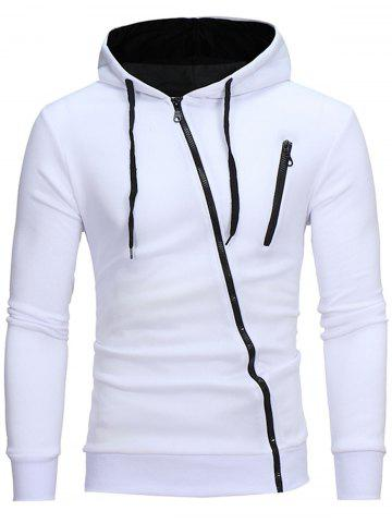 Color Block Oblique Zippers Hoodie en molleton Blanc L