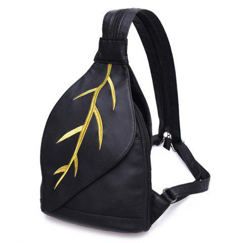 New Zipper Embroidery Backpack - BLACK  Mobile