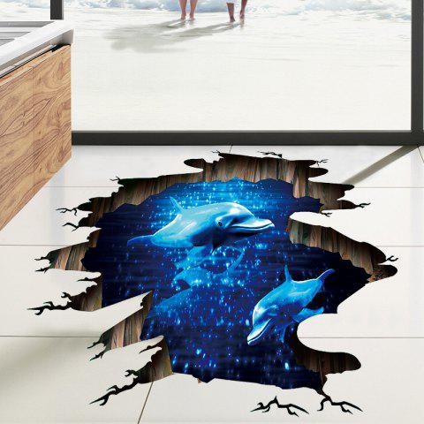 Online Dolphin 3D Broken Floor Sticker For Bedroom