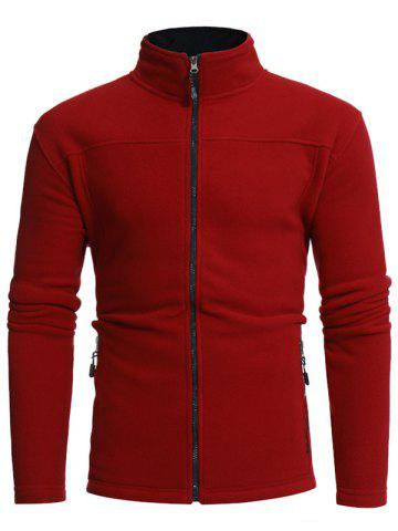 Zip Pockets Warm Fleece Jacket Rouge 3XL