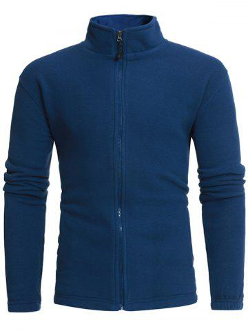 Store Thicken Stand Collar Zip Up Fleece Jacket BLUE M