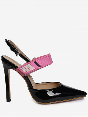 Shop Slingback Stiletto Heel Pumps BLACK 39