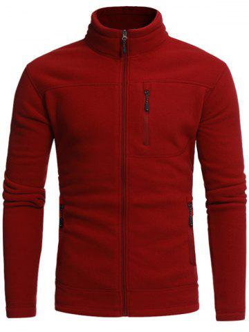 Stand Collar Zip Veste en molleton Rouge 3XL