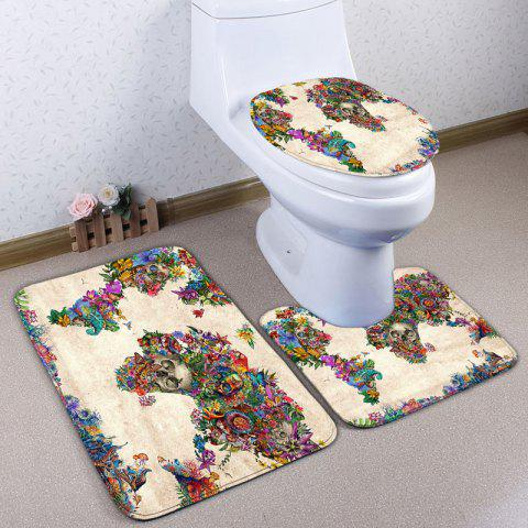 Discount 3Pcs/Set Floral Skull Flannel Bath Toilet Mats
