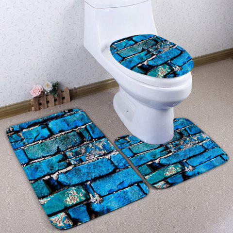 3Pcs Flannel Brick Bathroom Tapis de toilette Set