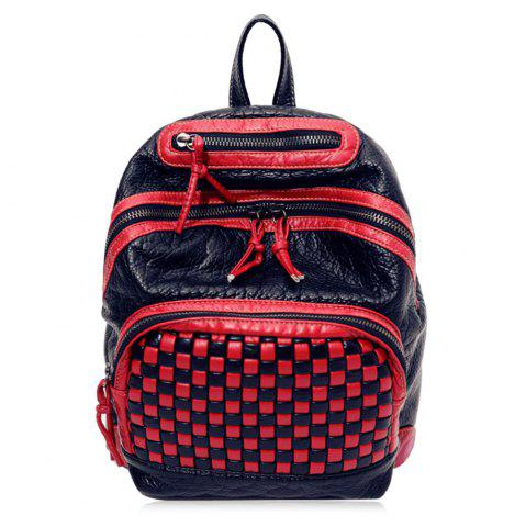 Shops Textured Leather Plaid Pattern Backpack RED
