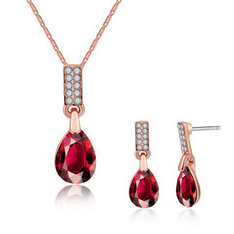 New Teardrop Pendant Necklace and Earrings - RED  Mobile