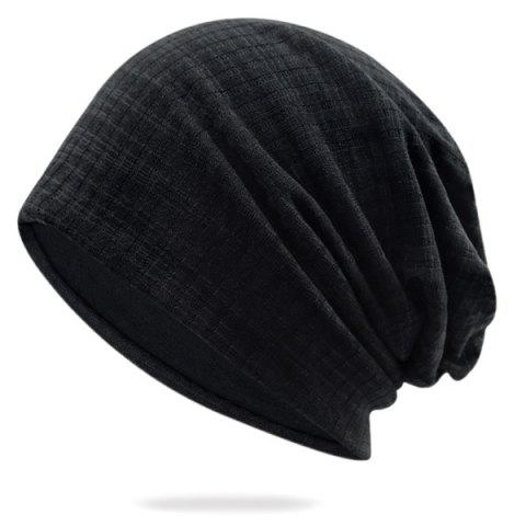 Discount Pinstriped Cotton Yarn Blending Beanie Hat - BLACK  Mobile