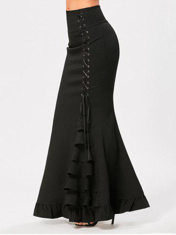 Hot Ruffles Criss Cross Side Maxi Mermaid Skirt - S BLACK Mobile