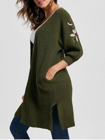 Side Slit Collarless Embroidered Cardigan