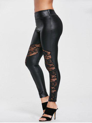 New High Waist Fitted Sport Leggings with Lace
