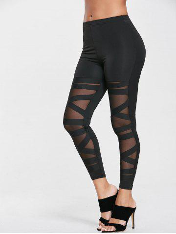 Unique Criss Cross Mesh Panel Sport Leggings - ONE SIZE BLACK Mobile