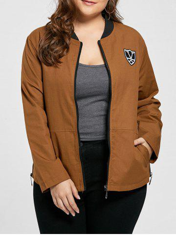 Fancy Plus Size Pocket Embroidered Zipper Jacket BROWN 4XL