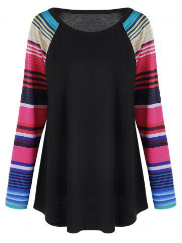 Best Plus Size Striped Raglan Sleeves Top